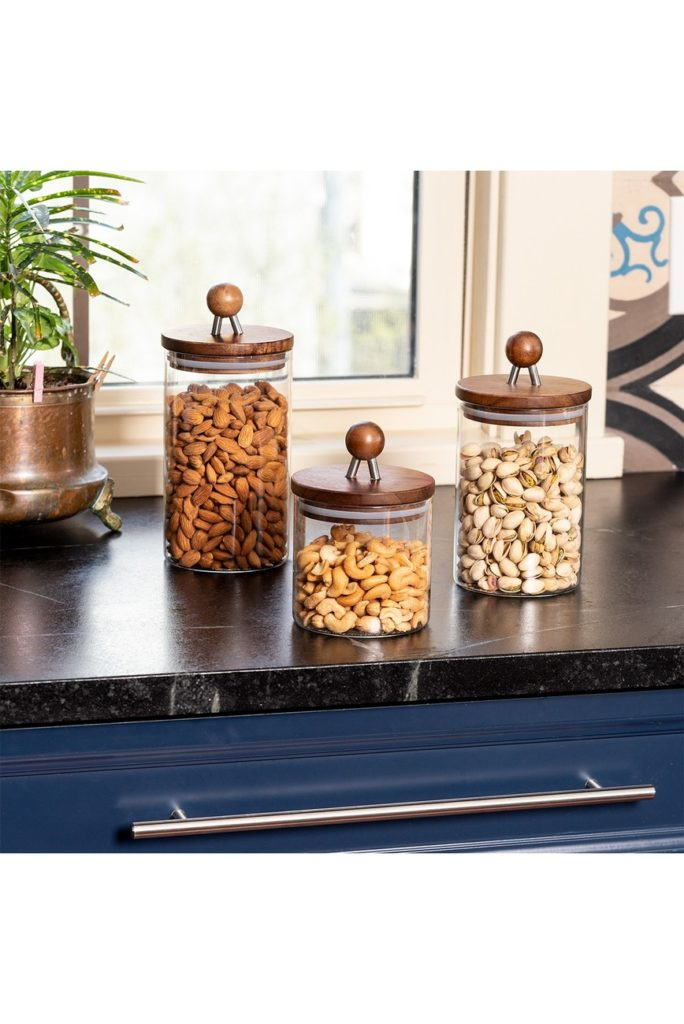 Acacia Glass Canisters - Set of 3 $69.97