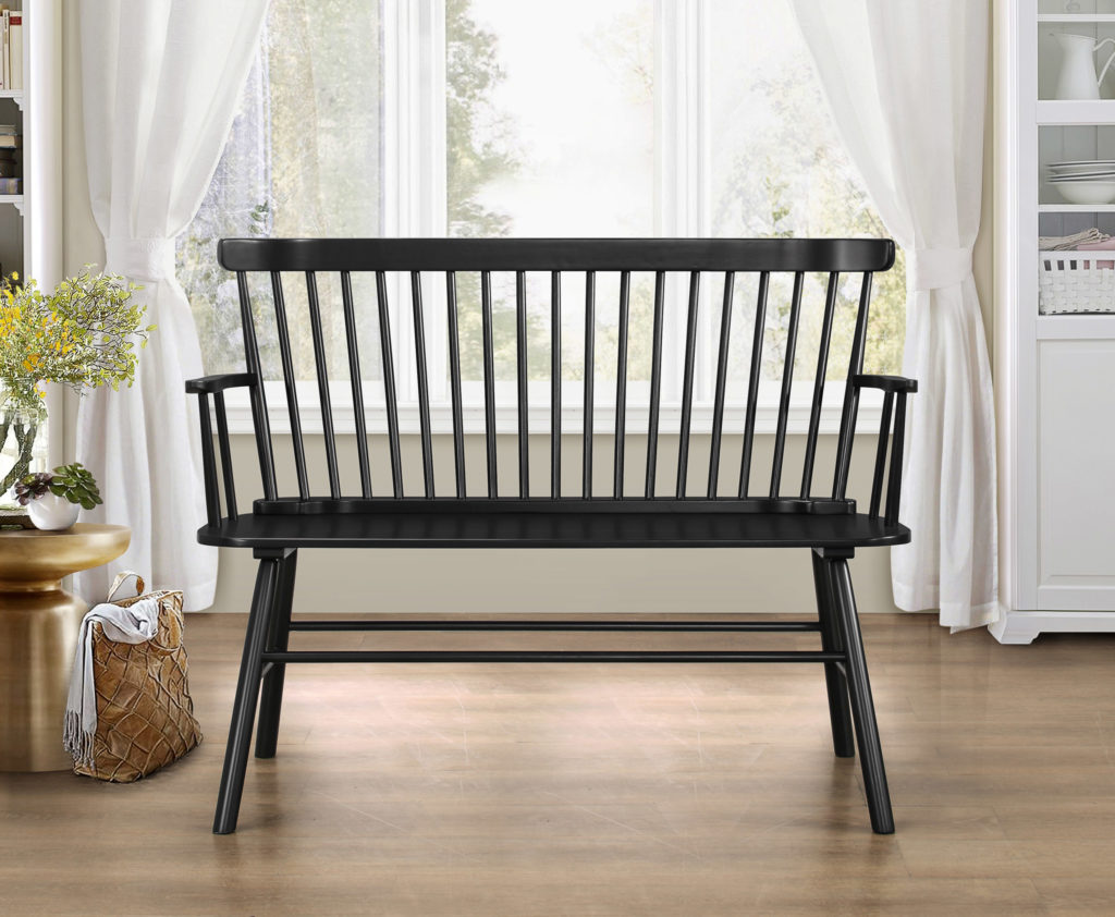 Jerimiah Entryway Spindleback Bench, Black $149.00