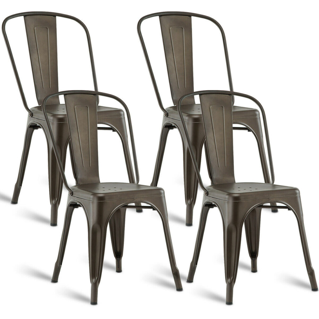 Costway Set of 4 Dining Side Chair Stackable Bistro Cafe Metal Stool Vintage $119.99