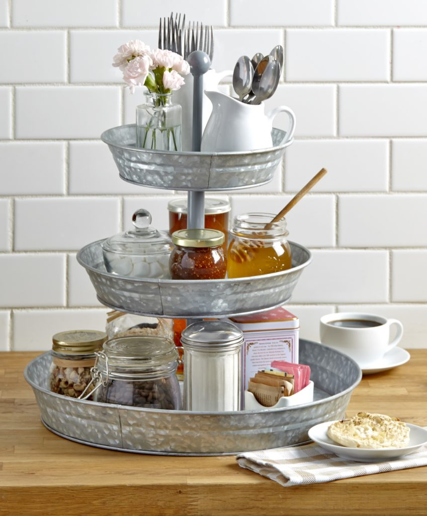 3-Tier Rustic Kitchen Stand - Galvanized Metal Kitchen Tray with Farmhouse Style $36.98