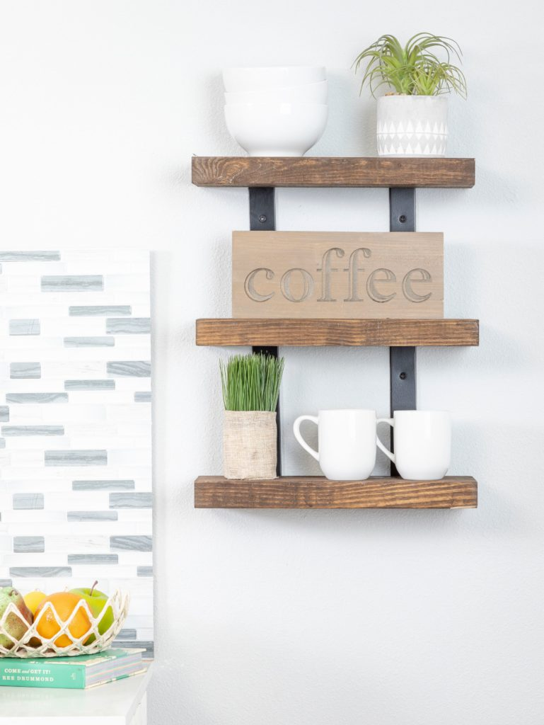 Industrial Metal Bracket Three-Tier Natural Wood Floating Shelf Set Rustic Farmhouse Kitchen $79.99