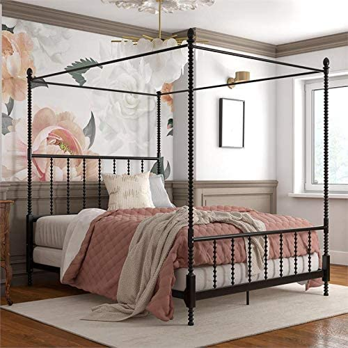 Emerson Metal Canopy Bed in Queen Size Frame in Black $365.58