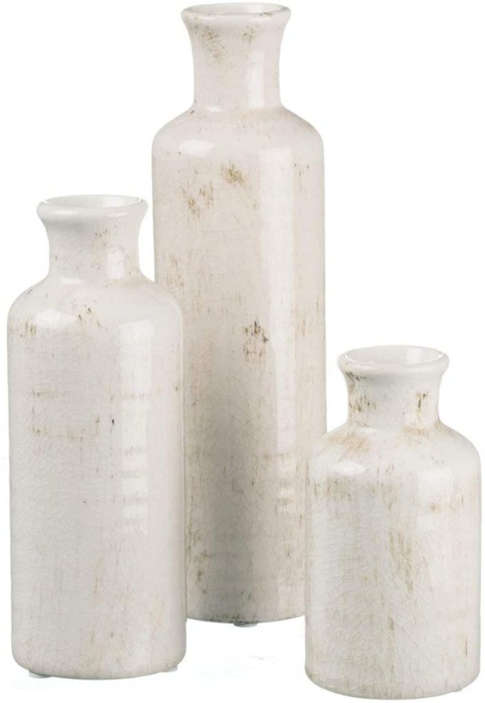 Rustic Home Decor, Distressed White, Set of 3 Vases $34.99