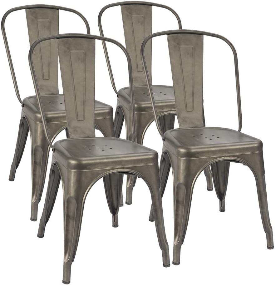 Trattoria Chair Chic Dining Bistro Cafe Side Metal Chairs Set of 4 $99.99