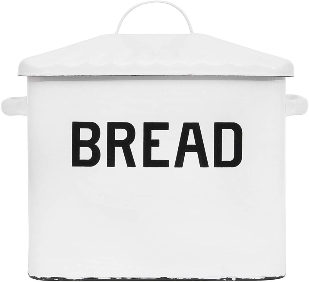 Metal Distressed Bread Box with Lid, White $46.99
