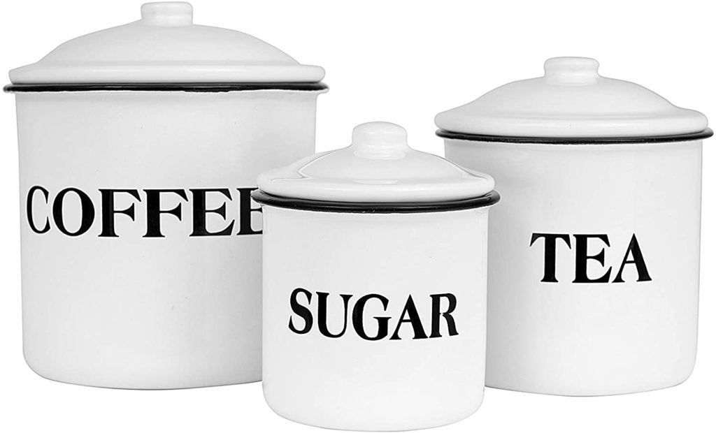 Creative Co-op Metal Containers with Lids, Coffee, Tea, Sugar (Set of 3)$15.99
