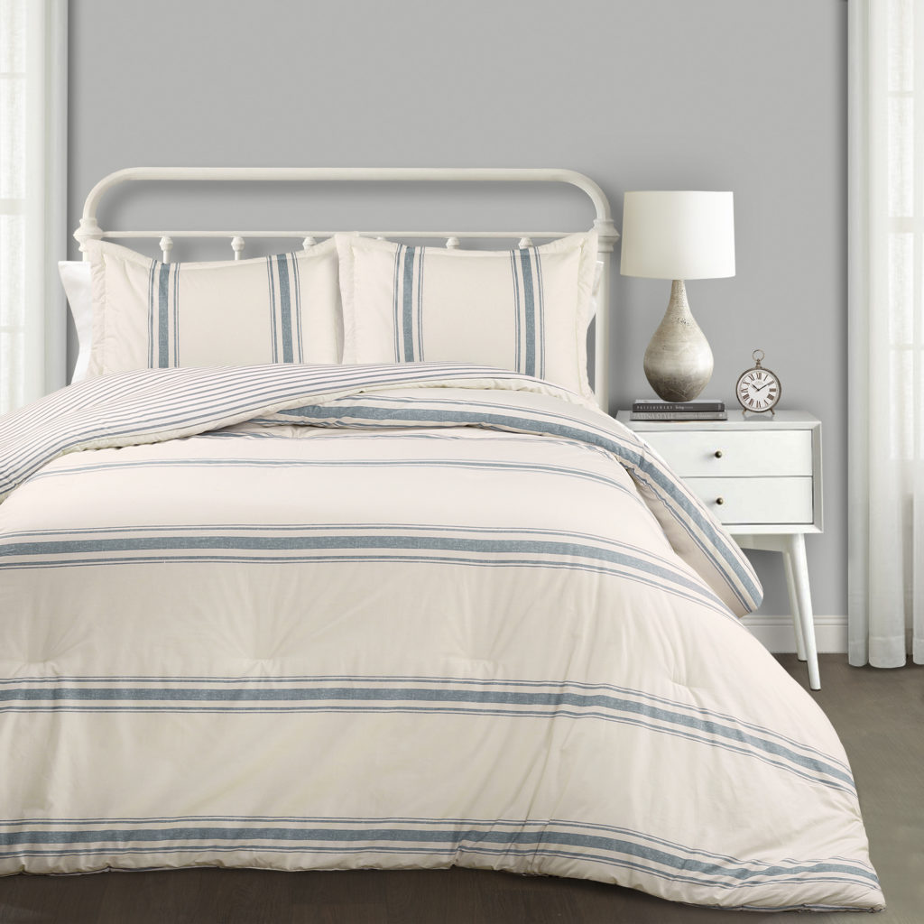 Lush Decor Farmhouse Blue Stripe 3-Piece Comforter Set, Full/Queen $100.34