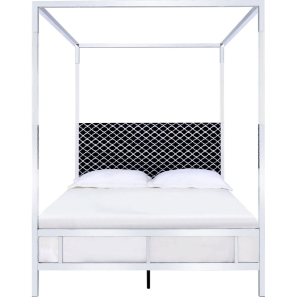 Queen Bed, Fabric & Chrome $780.97
