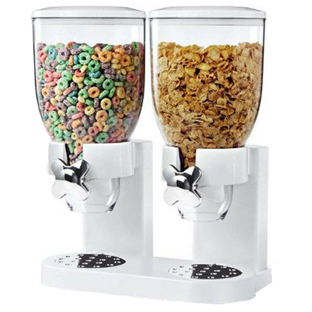 5L Double Cereal Dispenser Dry Food Storage Container Canister Machine 2 Colors $69.76