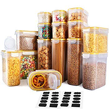 Cereal Container, Food Storage Containers 15 Pack Airtight Cereal Dispenser Set for Flour Snacks Nuts & Baking Supplies $95.98