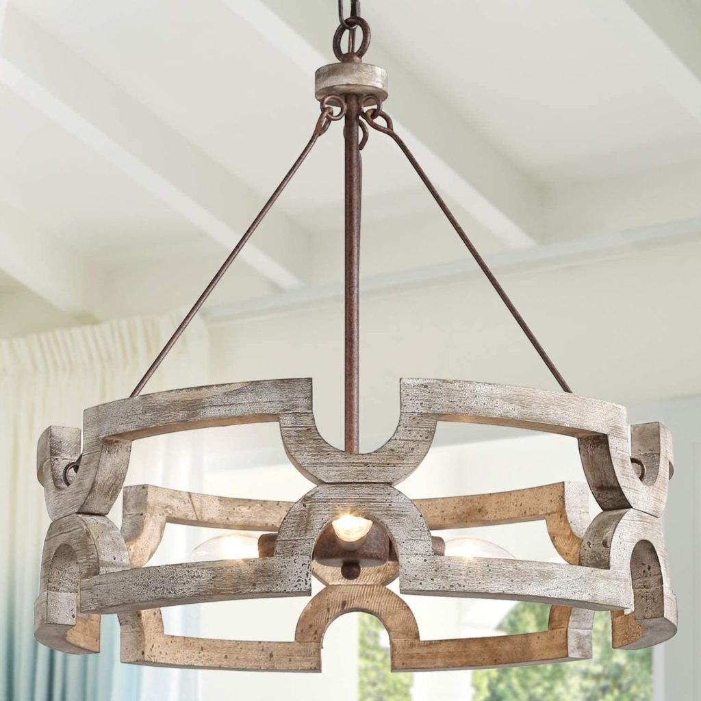 Farmhouse Wood Drum Chandeliers for Dining Rooms Hand-Painted Antique Dark Finish $229.99