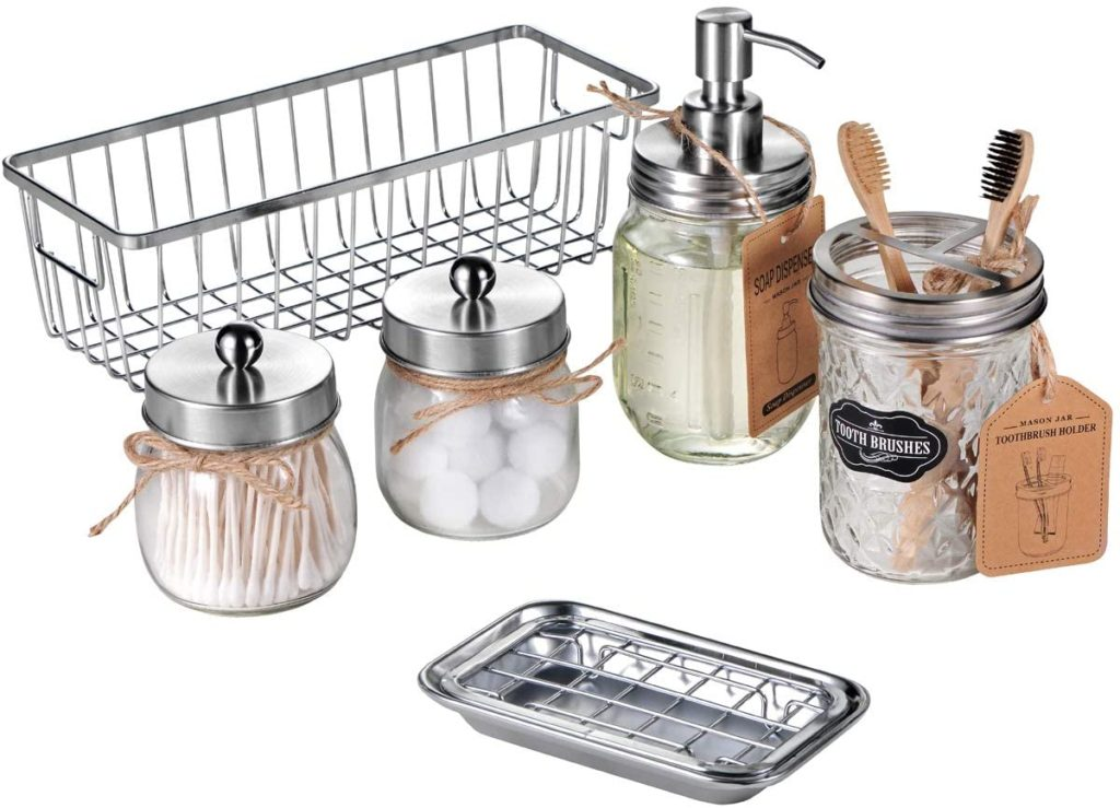 Premium Mason Jar Bathroom Accessories Set (6PCS) $29.99