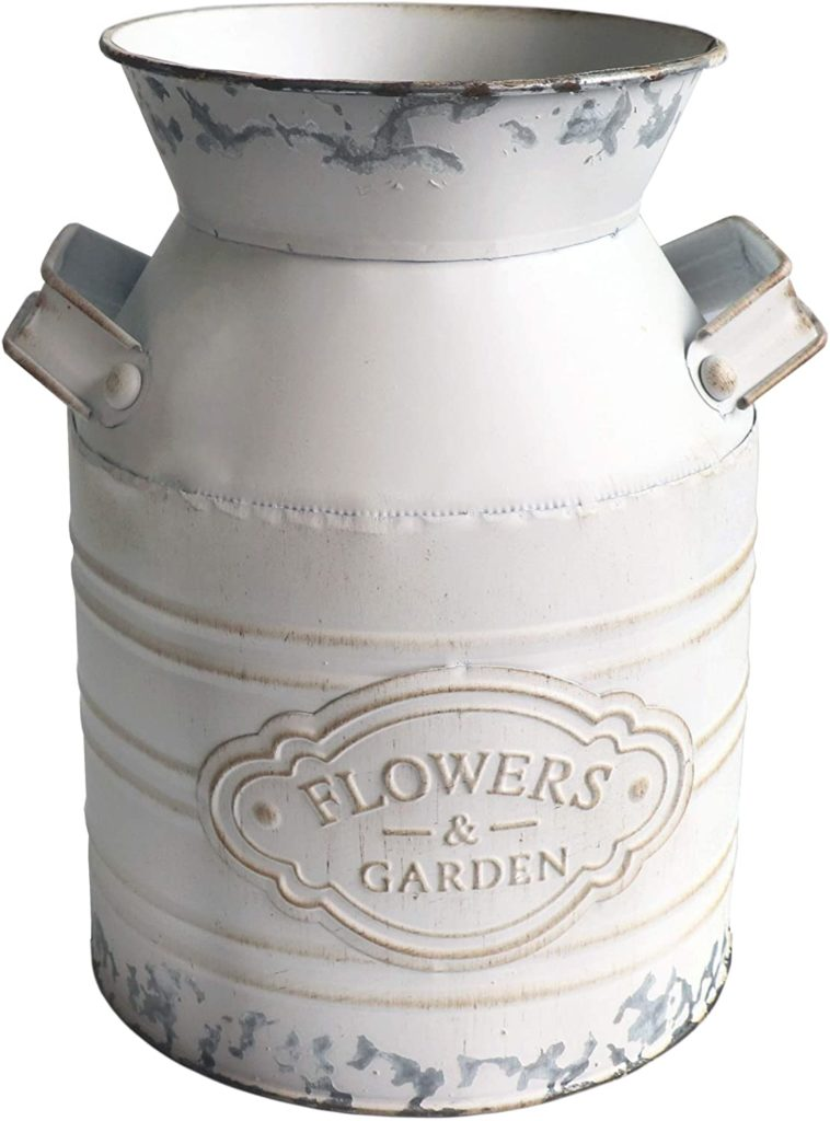 Farmhouse Shabby Chic Flowers Metal Vase  $21.99