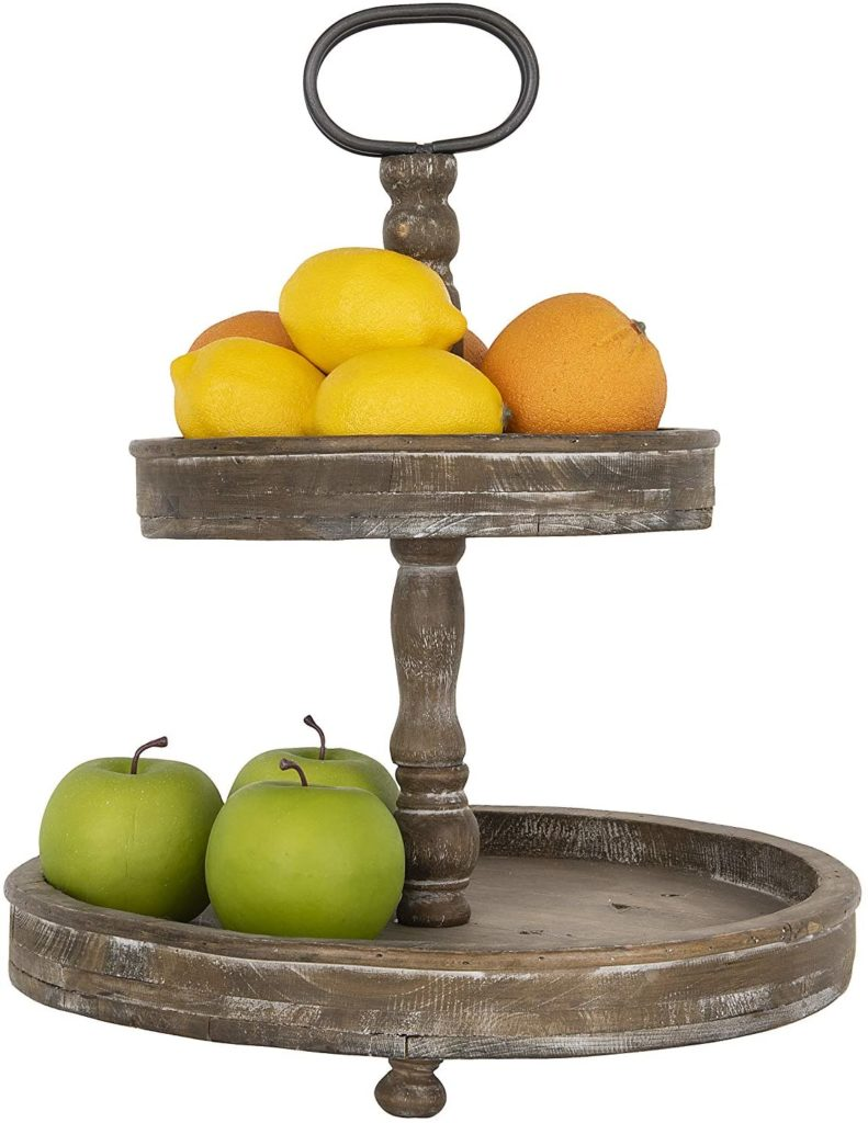 Creative Co-Op Distressed Brown Wood Metal Handle Two-Tier Tray $56.78