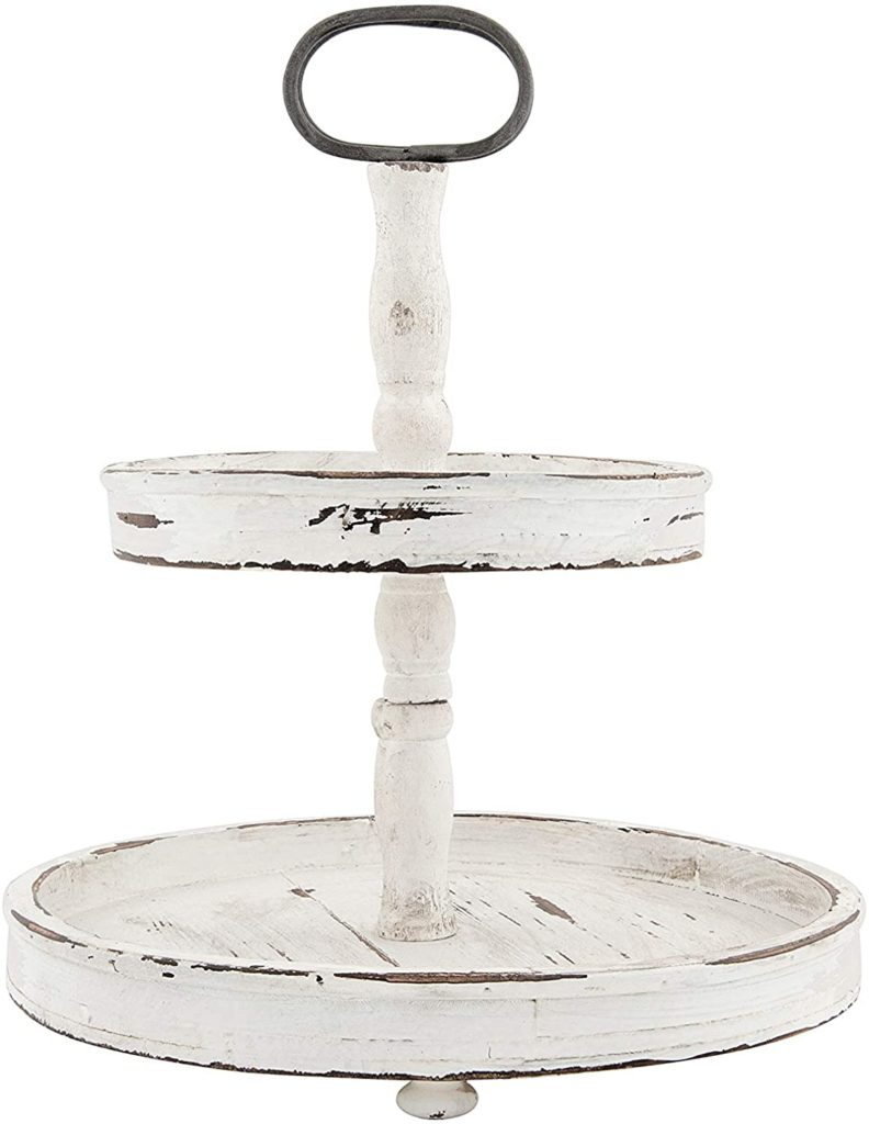 Creative Co-op Distressed Wood 2-Tier Tray with Metal Handle, Cream $60.99