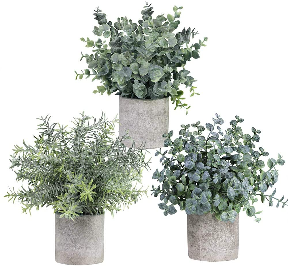 Winlyn Set of 3 Mini Potted Artificial Eucalyptus Plants $29.99