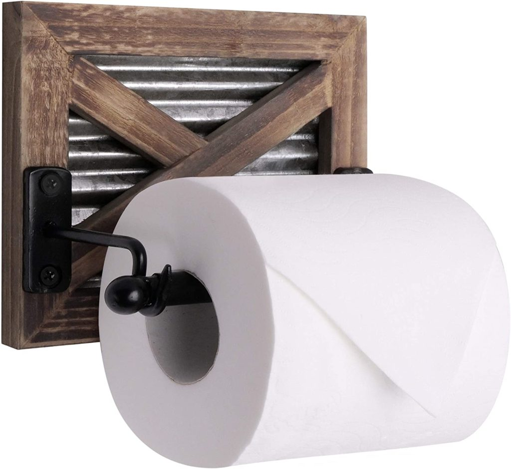 Rustic Farmhouse Barn Door Toilet Paper Holder $19.99