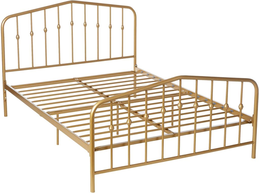 Novogratz Bushwick Metal Bed, Modern Design, Full Size - Gold $220.19