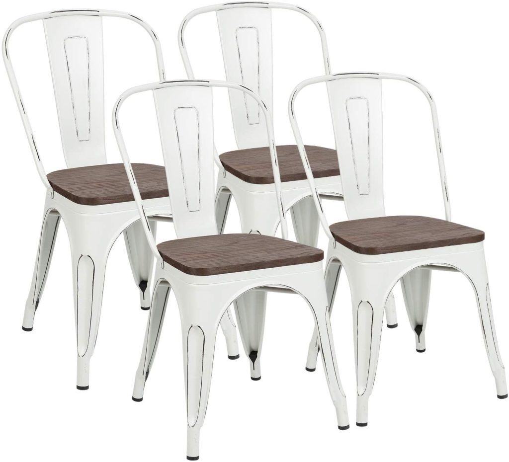Outdoor Stackable Industrial Chair with Back Set of 4 for Kitchen $129.99