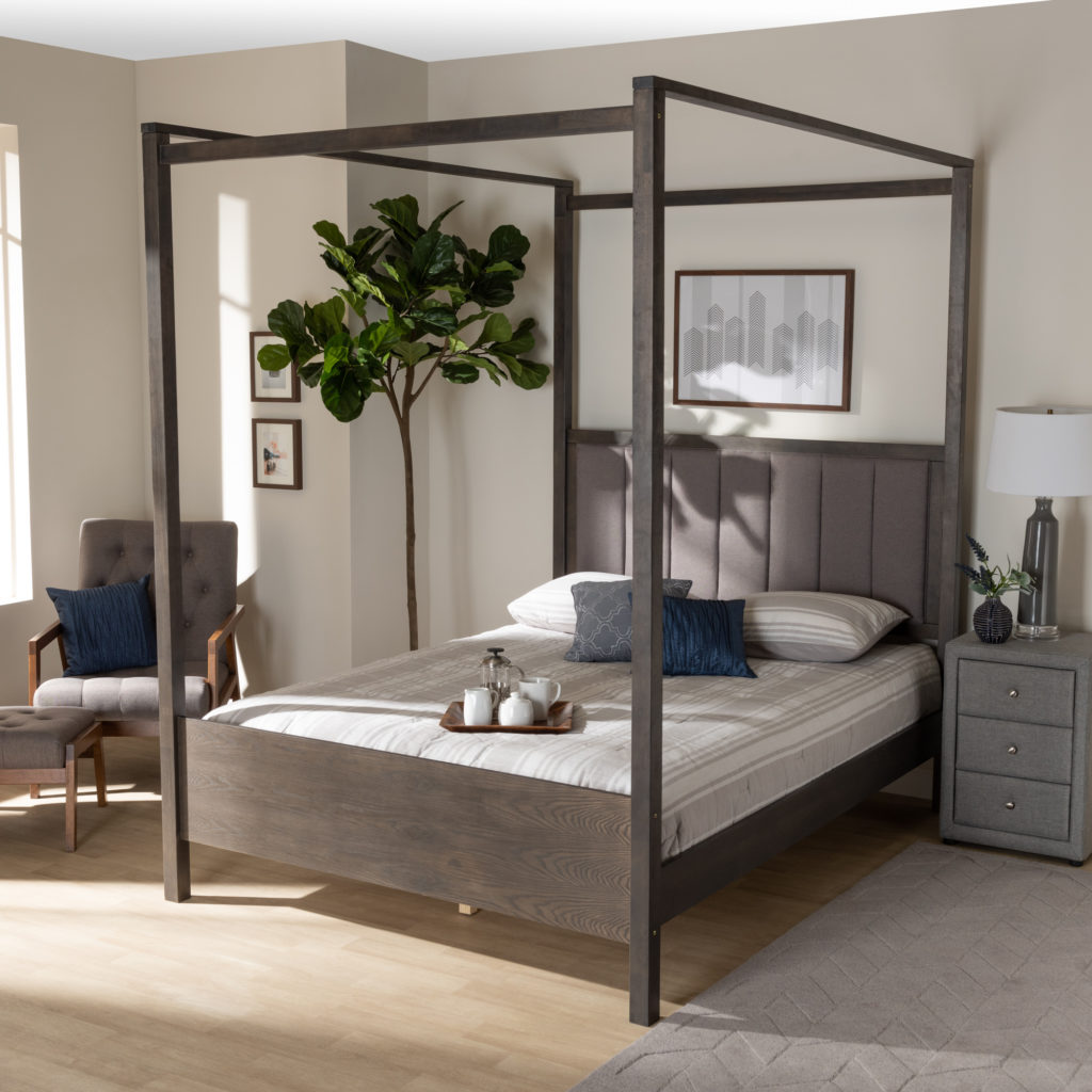 Baxton Studio Natasha Modern and Contemporary Grey Fabric Upholstered and Dark Grey Oak Finished Wood Queen Size Platform Canopy Bed $503