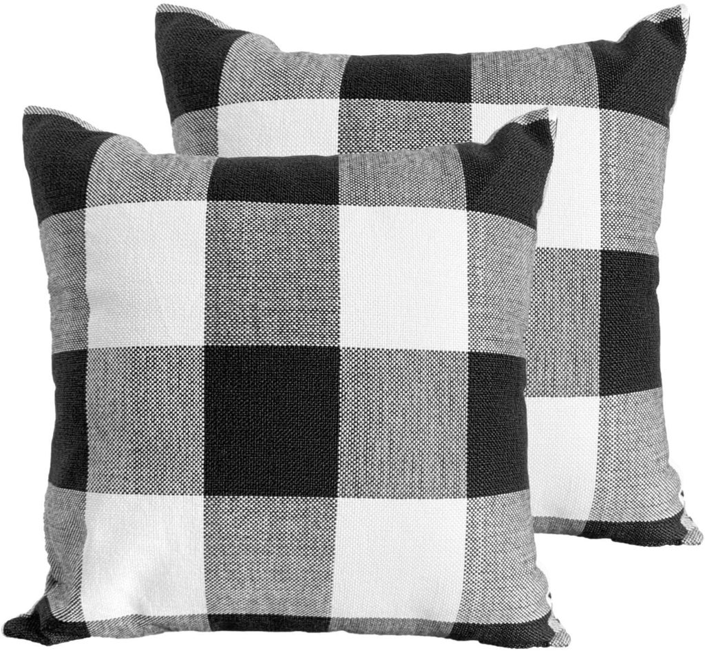 Throw Pillow Covers 18×18 Decorative Buffalo Check Plaid Pillow Cover $6.99