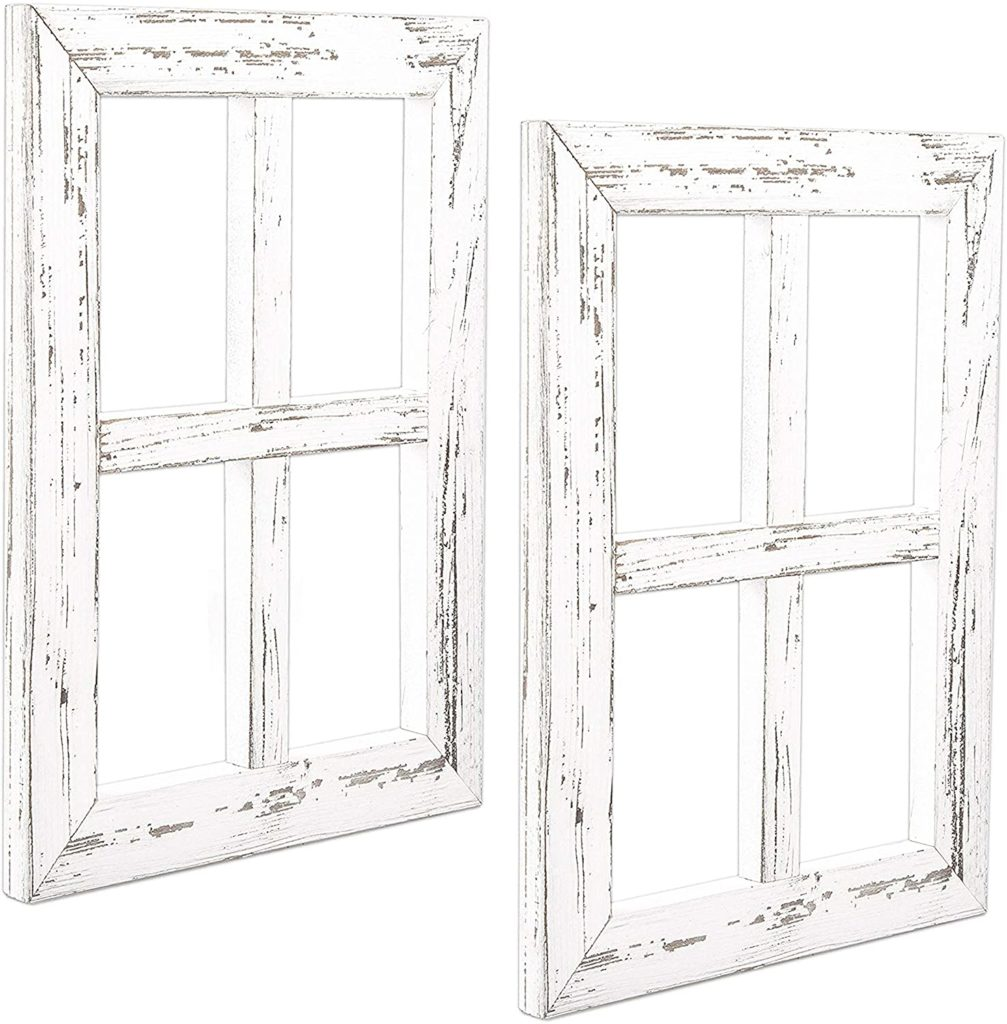 Rustic White Wood Window Pane Country Farmhouse  $32.92