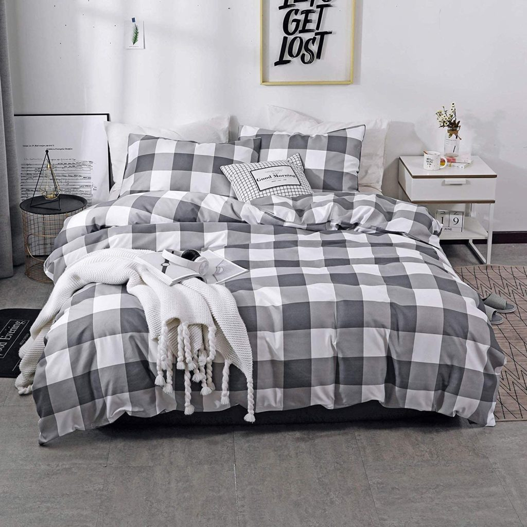 Farmhouse Buffalo Check Gingham Simple Geometric Square Pattern Bedding Set $33.99