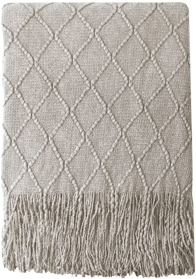 Bourina Beige Throw Blanket $23.99