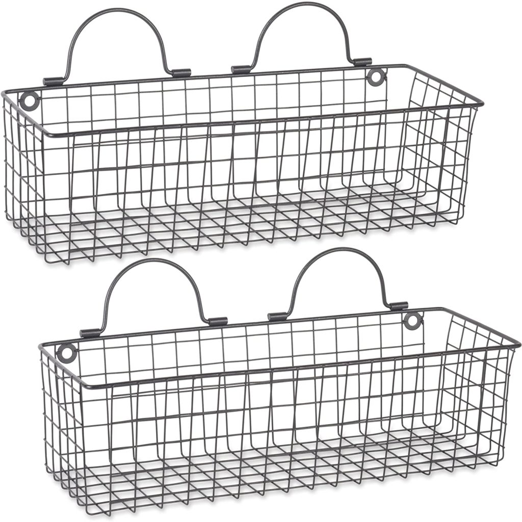 Farmhouse Vintage Hanging Wall Mounted Wire Metal Basket, Set of 2 $34.99
