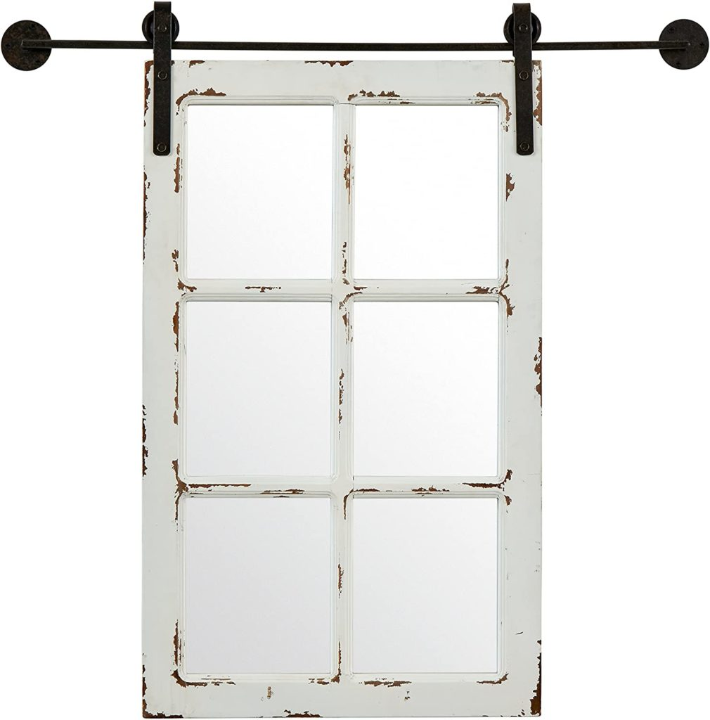 Stone & Beam Vintage-Look Rectangular Frame White Window Wood Mirror $79.37