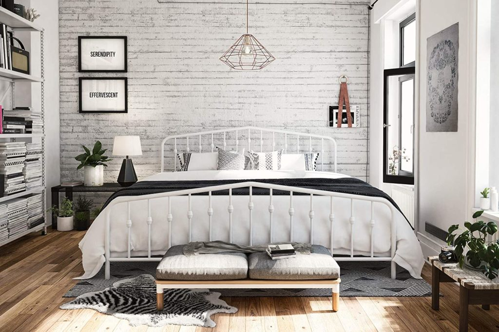 Novogratz Bushwick Metal Bed, King, White $203.32https://amzn.to/2X7kEmh