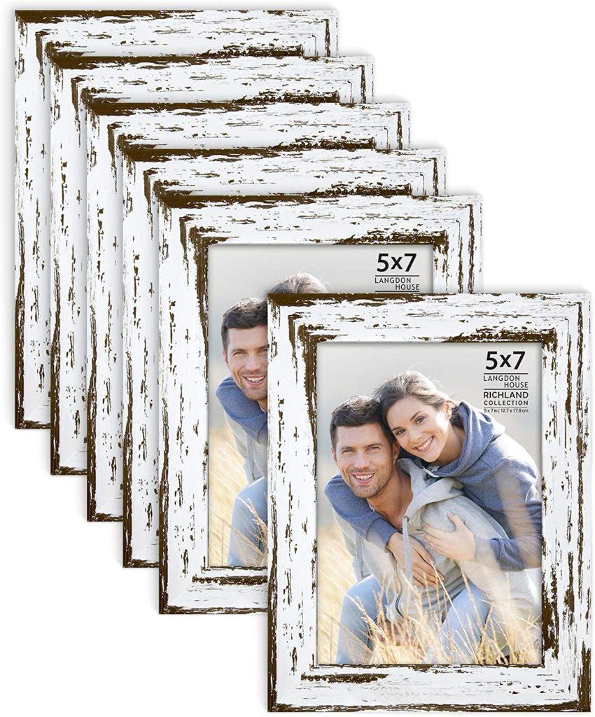 5x7 Picture Frames (Distressed White, 6 Pack) Farmhouse Style $22.99