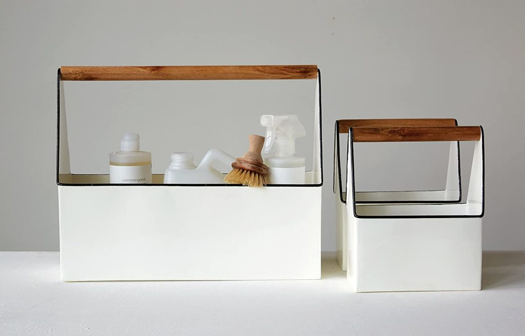Creative Co-Op Set of 3 White Rectangle Metal Buckets with Wood Handles Caddy Set $76.95