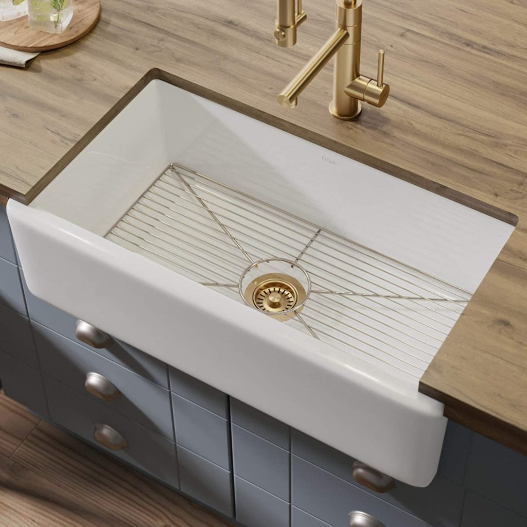 Farmhouse Apron Reversible Single Bowl Kitchen Sink with Bottom Grid $549.95