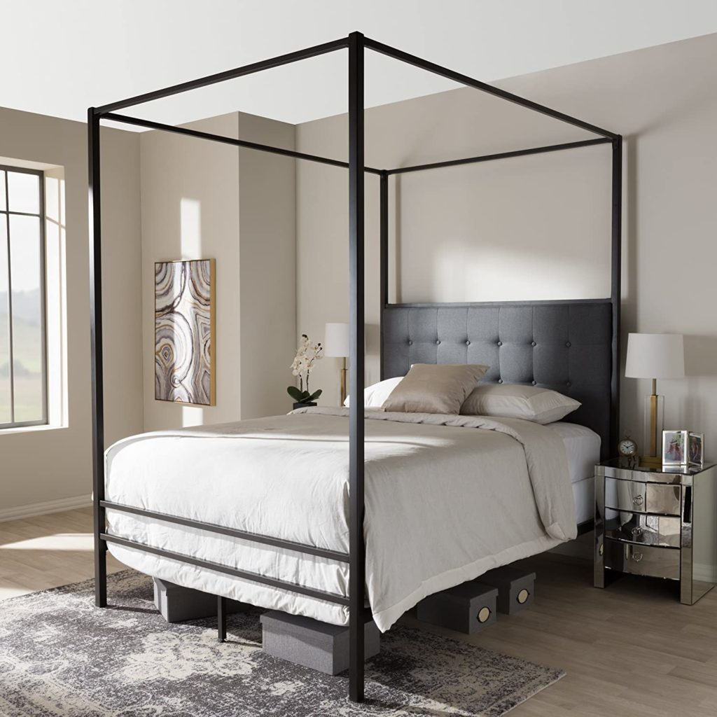 Baxton Studio Contemporary Canopy Queen Bed in Black Finish $447.50