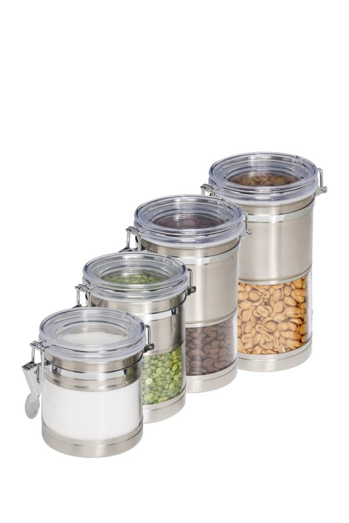 Stainless Steel Trimmed Clear Acrylic Canister - Set of 4 $39.97