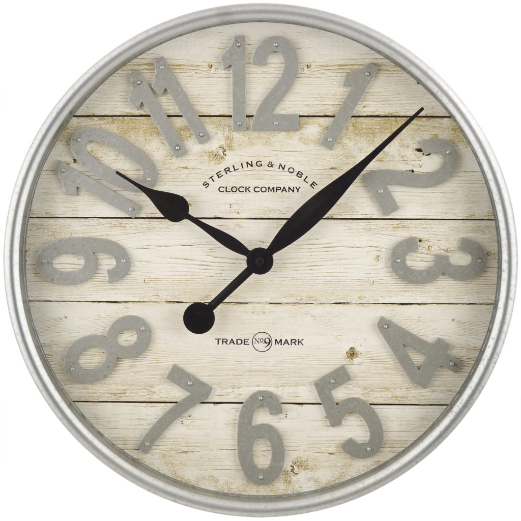 Farmhouse Plank with Galvanized Finish Wall Clock $24.92