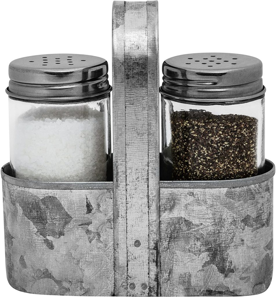 Farmhouse Salt and Pepper Shakers with Caddy Set $16.98