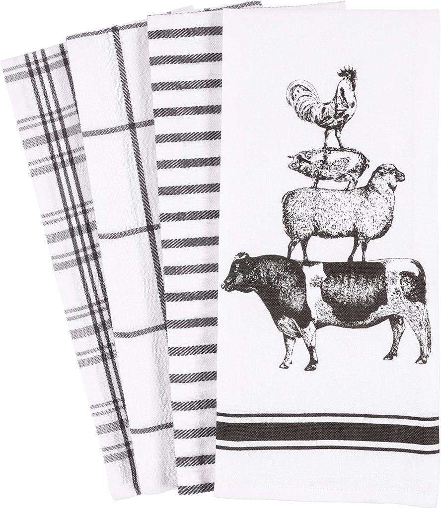 Farm Animals Kitchen Dish Towel 18 x 28-inch Set of 4 $12.99