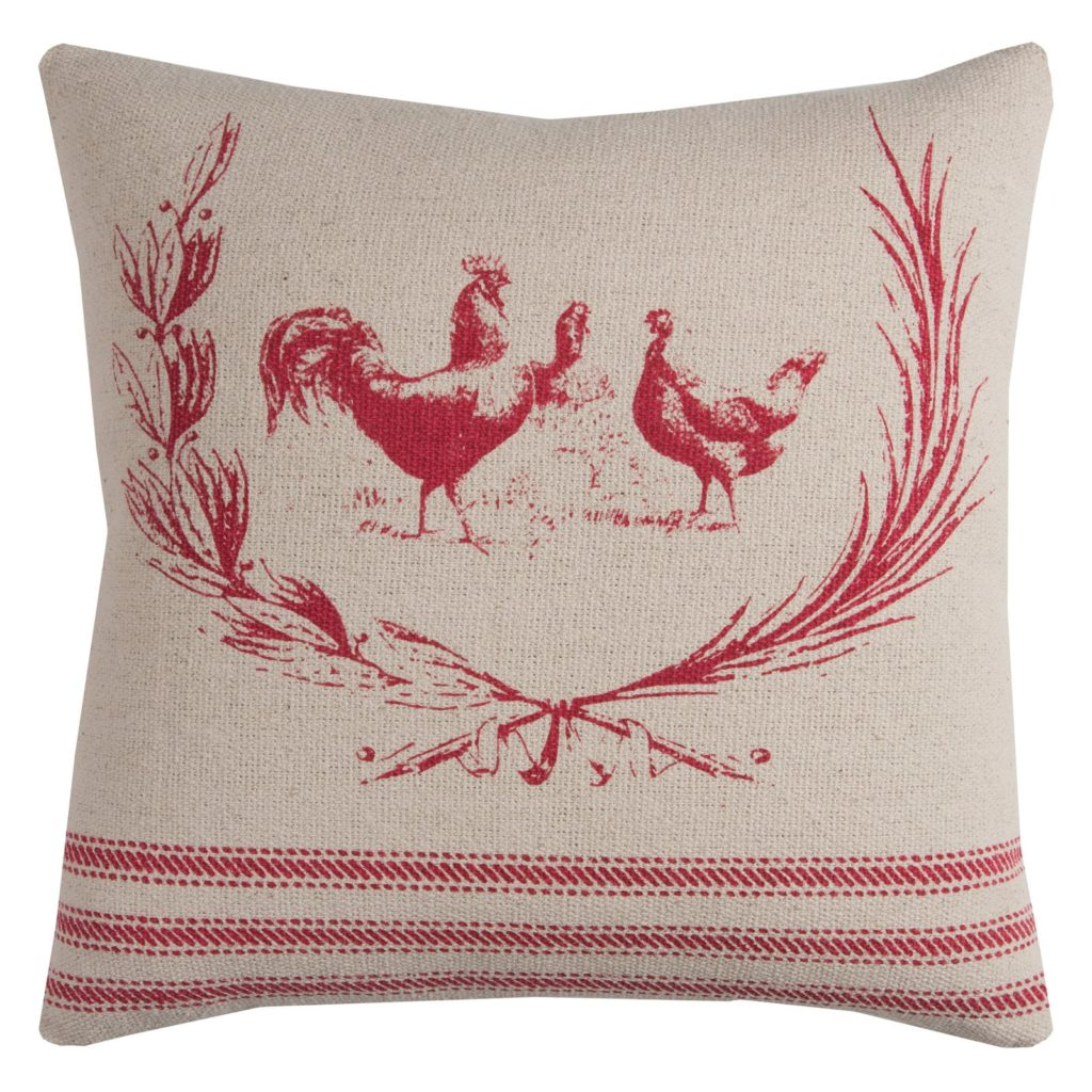 "Rizzy Home Farmhouse Rooster Cotton With Zipper Closer Decorative Throw Pillow, 20"" x 20"", Red $22.41"