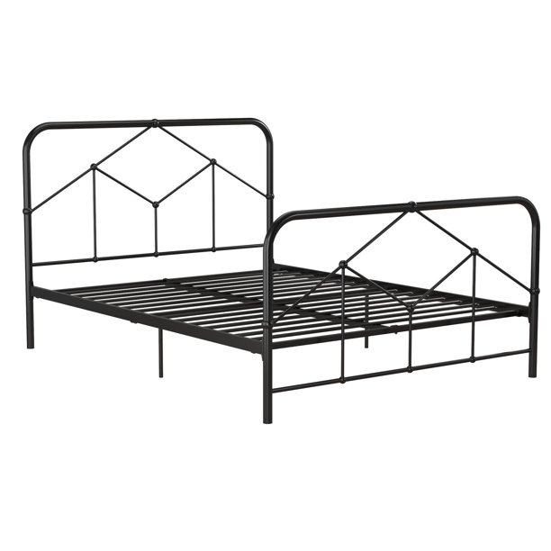 Novogratz Francis Farmhouse Metal Bed, Queen Bed Frame, Black  $299.99