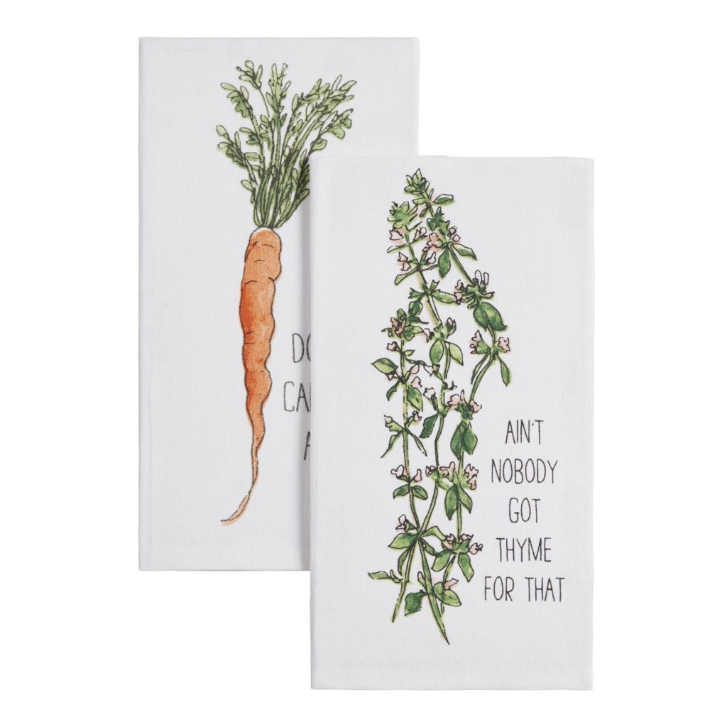 White Funny Food Kitchen Towel $5.99