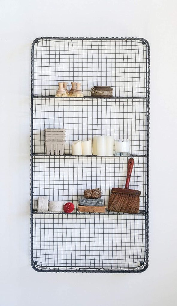 Creative Co-op Wire Décor with 4 54-Wall - Shelves, Grey $39.20
