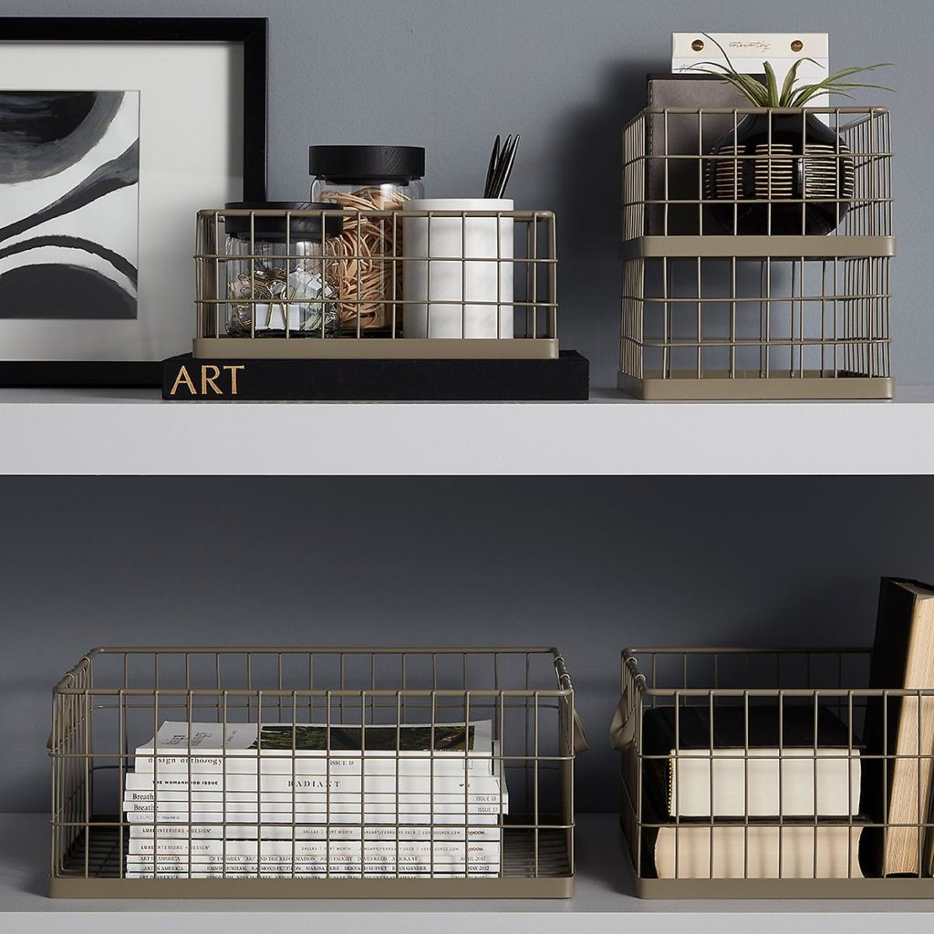 Taupe Stacking Wire Bins $9.99-$16.99