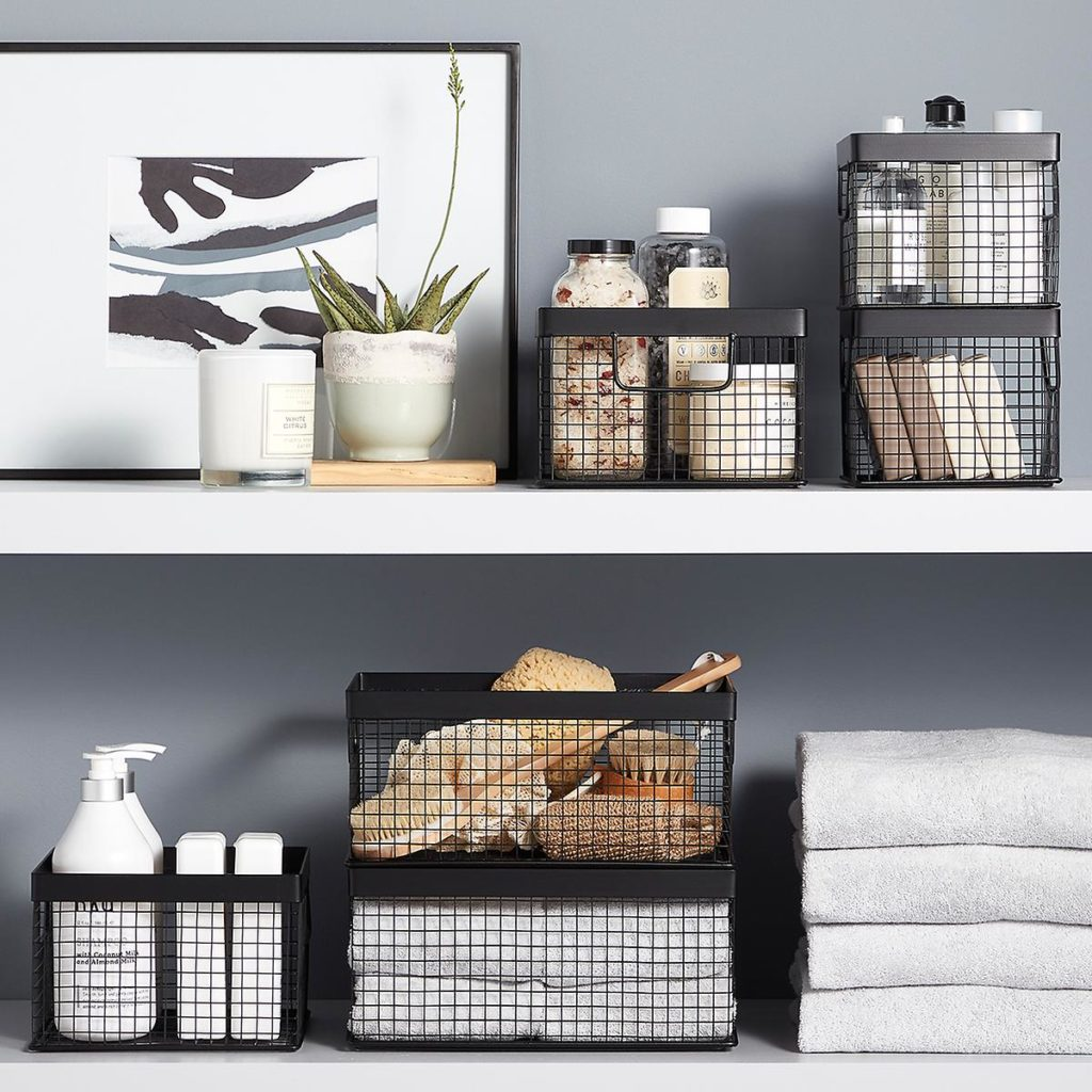Design Ideas Black Wire Grid Storage Bins $9.99-17.99