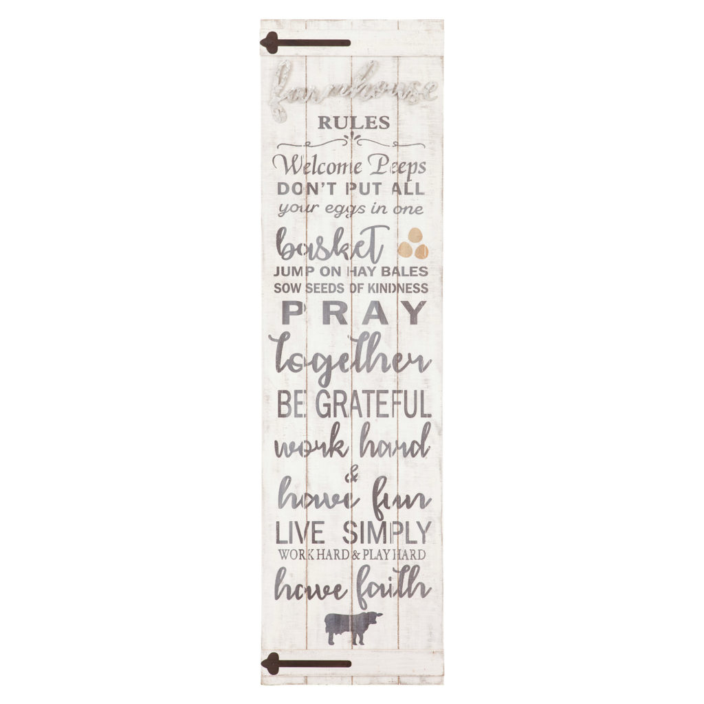 13x47 Farmhouse Rules Rustic Wood Plank Barn Door Wall Decor $76.98