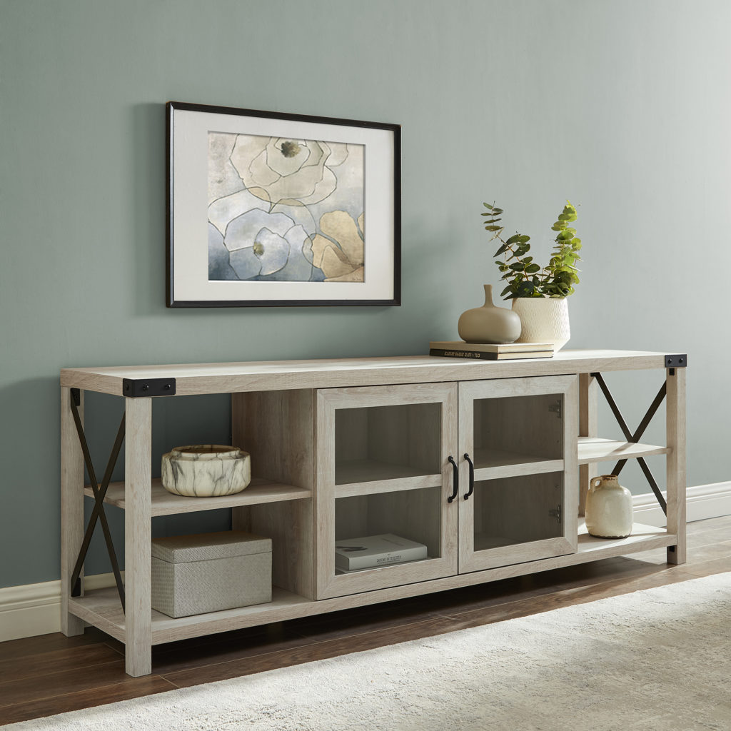 "Magnolia 70"" 2-Door White Oak TV Stand by Desert Fields $250.00"