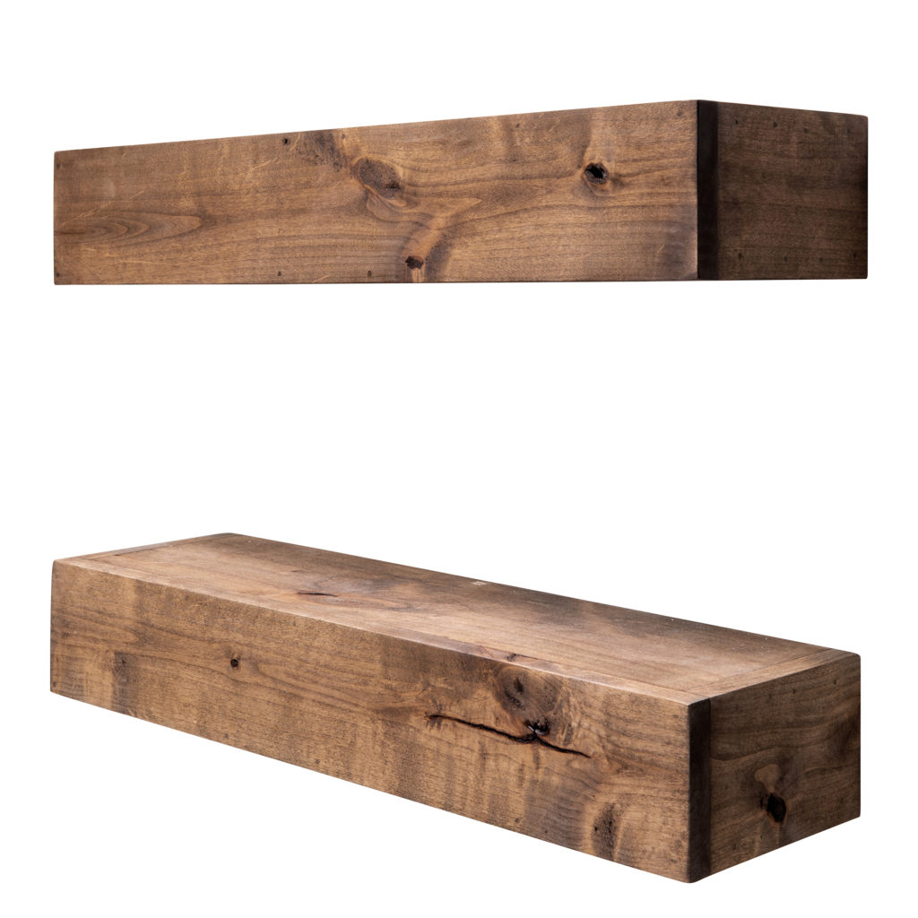 Farmhouse Floating Shelf, 24 inch - Walnut Finish (Set of 2) $88.00