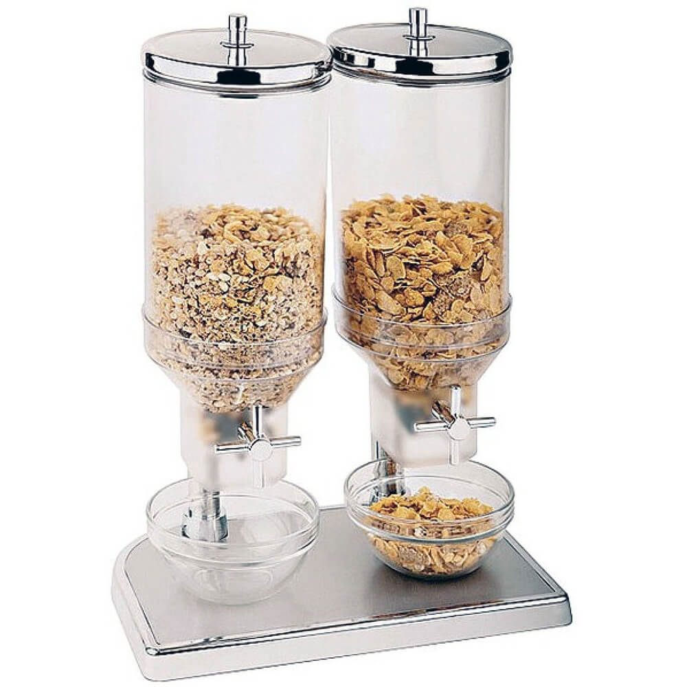 APS Polypropylene Double Cereal Dispenser, Stainless Steel Lid and Base, Clear, 41810-09 $286.34