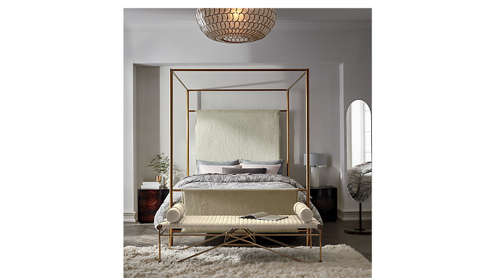 ODESSA SHEARLING CANOPY BED KING $1,099.00